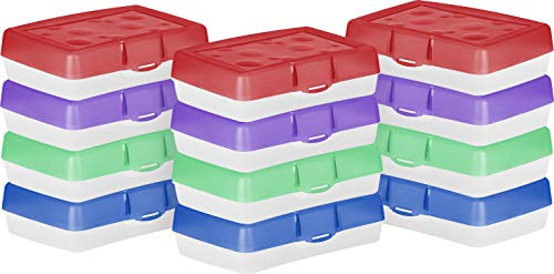 Storex Pencil Case, 8.38 x 5.63 x 2.5 Inches, Assorted Colors, Box of 12 (STX61605U12C)