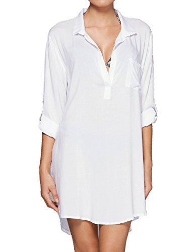 L-Peach Damen Sommer Baumwolle Hemd Blusen Tunika Sommerkleid Strandkleid Bikini Coverups Beachwear One Size