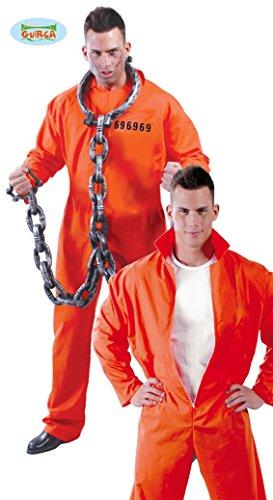Guirca Rudy Disfraz presos Estadounidense detenido Hannibal Lecter Hombre, Color Naranja, Talla única, 80435