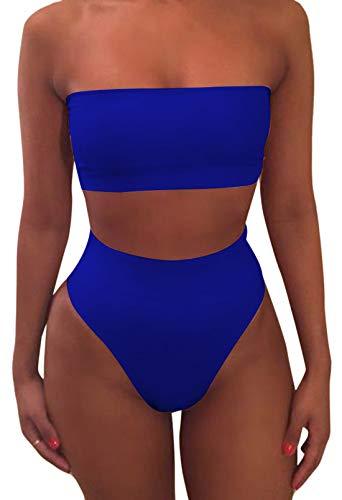 Pink Queen Women's Remove Strap Pad Bikini Set Swimsuit Sky Blue XL
