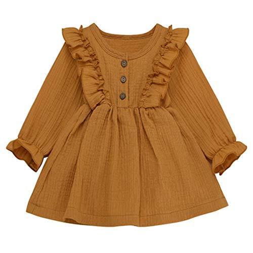 DaMohony Baby-/Mädchenkleid, Kleider für Neugeborene, Langarm, Rüschen, einfarbig, für Herbst und Frühling Gr. 90 cm(2-3 Jahre), Ginger Yellow
