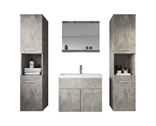Badezimmer Badmöbel Set Montreal XL 60 cm Waschbecken Beton - Unterschrank Hochschrank Waschtisch Möbel