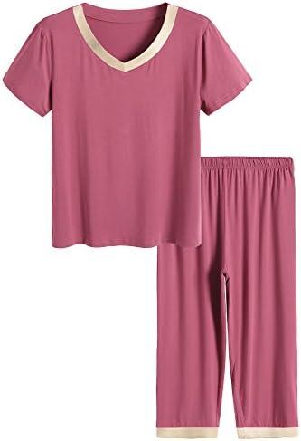 Latuza Women s Sleepwear Tops with Capri Pants Pajama Sets M Brick Red product image