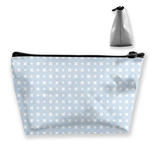 Einfache Florale geometrische Textur mit kleinen Blumen-Silhouetten Winzige Quadrate AbstrTravel Make-up-Tasche Zugkoffer Kosmetische Lagerung Tragbarer Make-up-Organizer