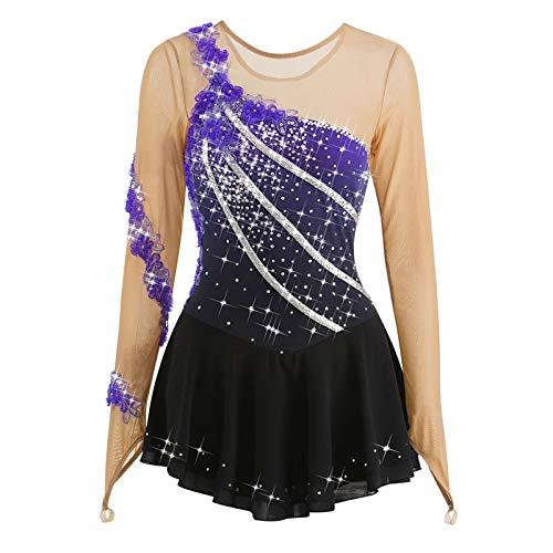 Vestido de patinaje artstico para nia con diamantes de imitacin, color morado, L