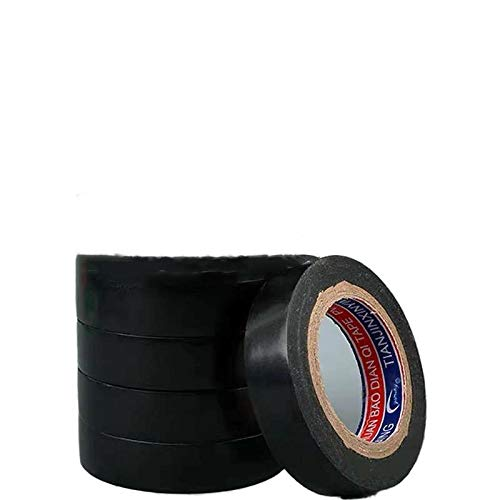SQXH 5 Pieces of Black PVC Electrical Insulation Tape-25M X 18Mm-High Quality Strong Roll Tape.black25mX18mm
