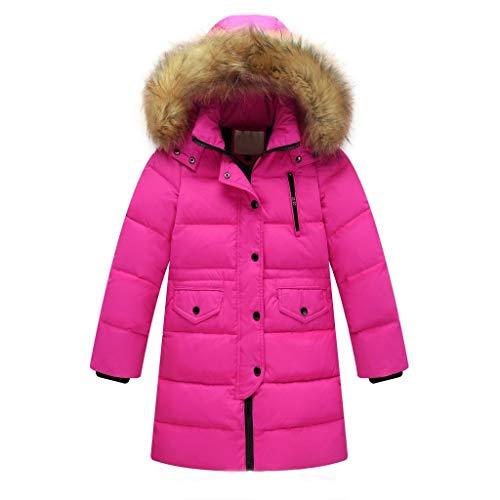 Riou Kinder Baby Lang Daunenjacke mit Pelz Ultraleicht Wintermantel Winter Warme Jungen Mädchen Jacke mit Kapuze Hochwertig Schön Parka Mantel (160, Pink)
