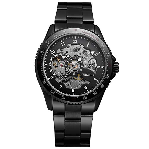 Winner Herren Armbanduhr, Business Casual Skelett mechanische Mechanik Uhr mit Edelstahl Armband,Black