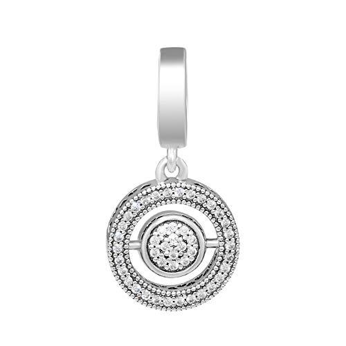 LIIHVYI Pandora Charms Original 925 Cuentas De Plata Esterlinasterling Silver Spinning Signature Cuelga Clear Cz Beads DIY Fabricación De Joyas Se Adapta A Pulseras Berloques
