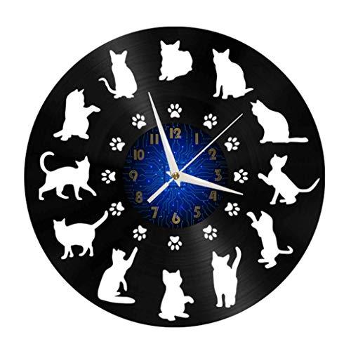 Cat Breeds Elements - Reloj de Pared con Disco de Vinilo de 12 Pulgadas, Reloj de Pared de Vinilo para Cocina, hogar, Sala de Estar, Dormitorio, Escuela (B), sin Arte LED, Regalo de cumpleaños, Regal