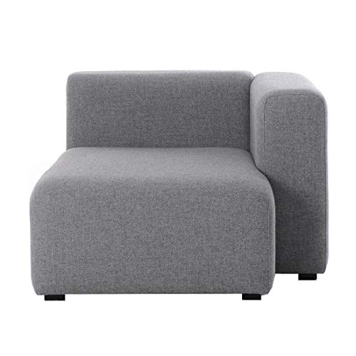 HAY Mags Sofa-Modul Chaiselongue Rechts 97x127,5cm, grau Stoff Hallingdal 130 Füße Kiefernholz schwarz gebeizt mit Filzgleitern