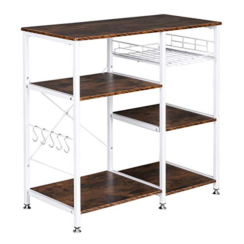 Home Furnishing Plaza 3-Tier Industrial Kitchen Baker's Rack Utility Microwave Oven Stand Storage Cart Workstation Shelf Utility Storage Organizer Shelf Rack