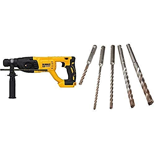 "DEWALT DCH133B 20V Max XR Brushless 1"" D-Handle Rotary Hammer Drill (Tool Only) with DEWALT DW5470 5-Piece Rock Carbide SDS Plus Hammer Bit Set"
