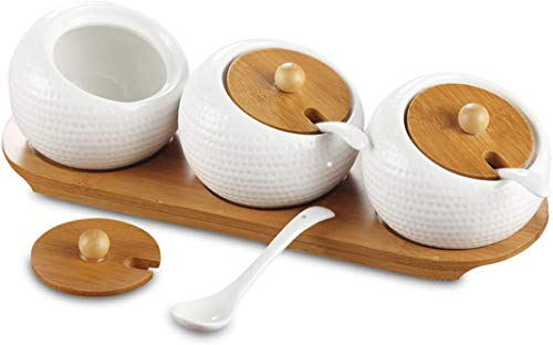 Bekith Porcelain Condiment Jar Spice Container Set with Bamboo Lids & Tray, 200ml *3, Pottery Cruet Pot for Sugar Bowl Serving Tea, Coffee, Spice