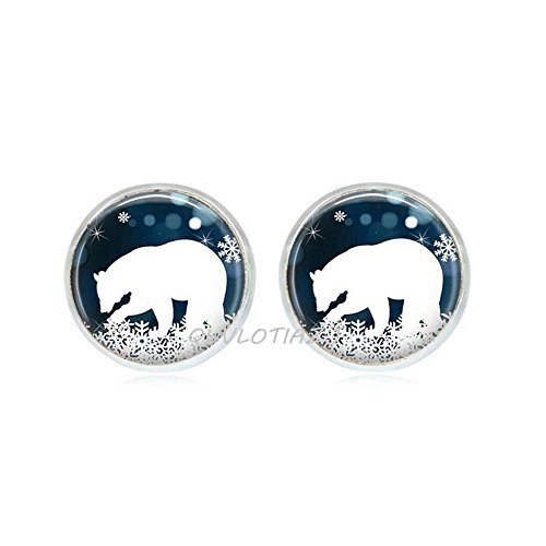 Quvlotizj: pendientes de oso polar, joyería de Navidad, pendientes de copo de nieve azul y blanco, pendientes de tuerca, joyería de animales, pendientes de animales, pendientes de osito, ot120, A3