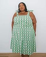 The Drop Vestido para Mujer, Midi Escalonado y Anudado a los Hombros, Estampado a Cuadros en Verde Pálido, por @itsmekellieb,