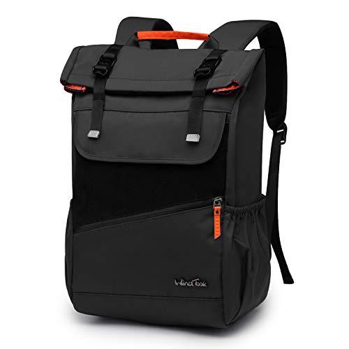 WindTook Rolltop Rucksack Daypack Schulrucksack Fahrradrucksack für 15,6 Laptop, Uni Büro Alltag Herren Damen, Schwarz