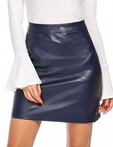 Zeagoo Women Classic High Waisted Faux Leather Bodycon Slim Mini Pencil Skirt(Navy Blue S)