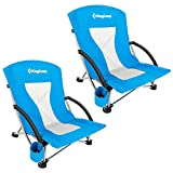 ingCamp Camping High Back Beach Chair Camping Concert Folding Chair, pack of 2
