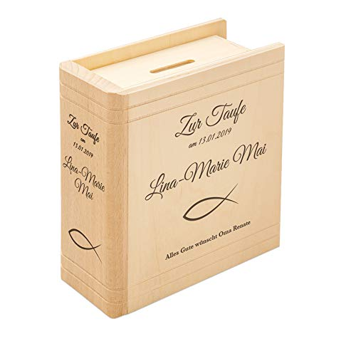 Casa Vivente Spardose mit Gravur zur Taufe in Buch-Optik, Motiv Fische, Personalisiert mit Name und Datum, Sparbüchse aus Holz, Taufgeschenk