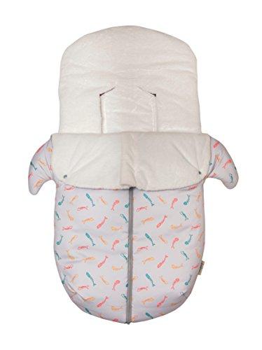 Baby Bites Original–Schlafsack Autositz, Buggy, bedruckt, Hellgrau Sardinen