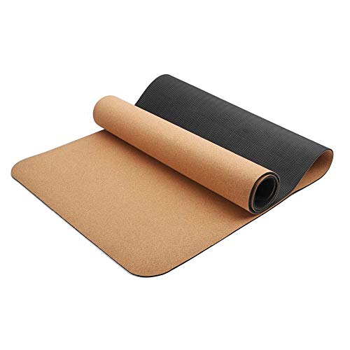 WXCC Yoga Mat,Natural Cork TPE Fitness Exercise Mat,3/4/5/6/8 Mm Non-Slip Workout Mat,Best Gift for Christmas in Holiday Yoga Pilates,5mm