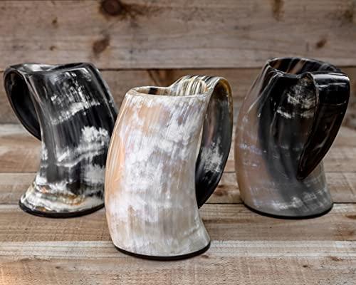 Carfar Juego de 3 tazas grandes de 24 onzas vikingas para beber...