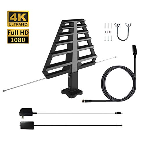 ANTAN Multi-Directional HDTV Antenna Amplified Digital Outdoor Antenna with Mounting Base For Attic or Roof & 33FT RG6 Coax Cable- 65-75 Miles Range -Support 8K 4K 1080P UHF VHF Freeview HDTV Channels