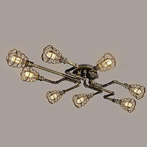 WYZXR Vintage Antique Deck Light Lámpara Industrial 8 portalámparas Retro Cobre 100 cm Lámpara de Techo Semi empotrada Lámpara Colgante Retro 8 Lampen Restaurante Cocina Bar Decoración Araña E27