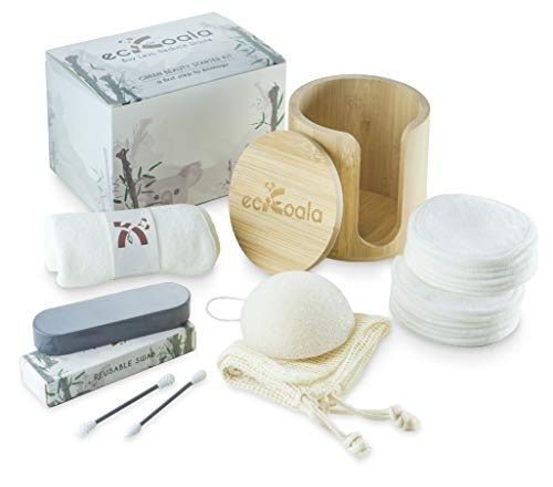 ecKoala® Makeup Remover Set | Geen Afval 16 Herbruikbare katoenen Pads Bamboe doos Handdoek Natuurlijke Vezels herbruikbaar wattenstaafje Konjac Spons Waszak | Organisch wasbaar Alternatief cosmetica | Ideaal cadeau