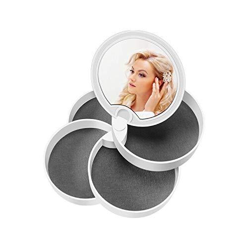 Jevogh Boite a Bijoux Petite Rangement Bague 4 Niveaux Rotation de 360°avec Couvercle de Miroir Stocker Boucle doreille Cadeau pour Fete des Mères Saint Valentin
