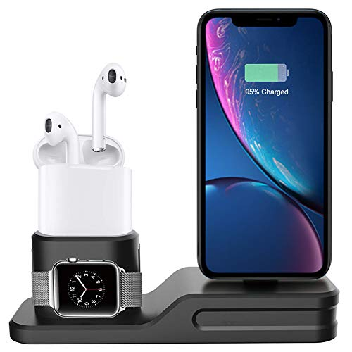 FULLBELL Apple Watch Charging Stand 3 en 1 iPhone Silicone Charger Dock Station Airpods para iPhone X / 8 Plus / 8/7 Plus / 7 / 6S Plus / 6 / 5S / Apple Watch Series 3/2/1 / Airpods