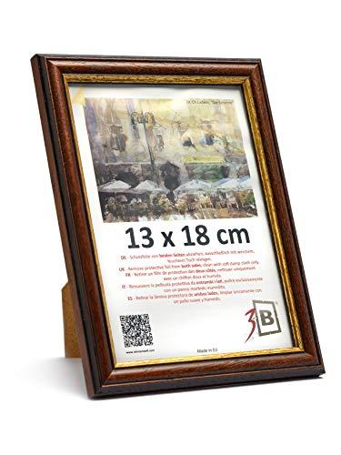 3-B Bilderrahmen BARI RUSTIKAL - dunkel braun – 13x18 cm - Holzrahmen, Fotorahmen, Portraitrahmen mit Plexiglas