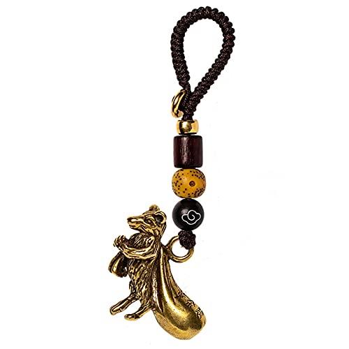 A/X Estatua de la rata del zodíaco chino mascota llavero de coche colgante colgante seguro de latón