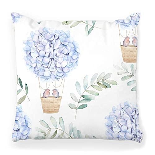Funda de almohada decorativa cuadrada de 45 x 45 cm, diseño de acuarela Aerostat azul hortensias pájaro pareja eucalipto floral abstracto decoración del hogar funda de almohada con cremallera