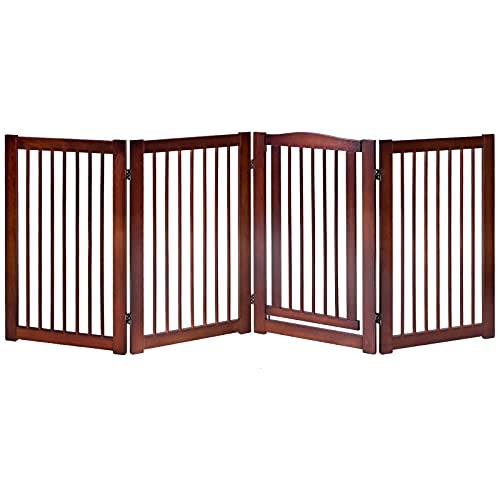 COSTWAY Barrera de Seguridad Plegable de Madera para Puerta Escalera Valla Protección...