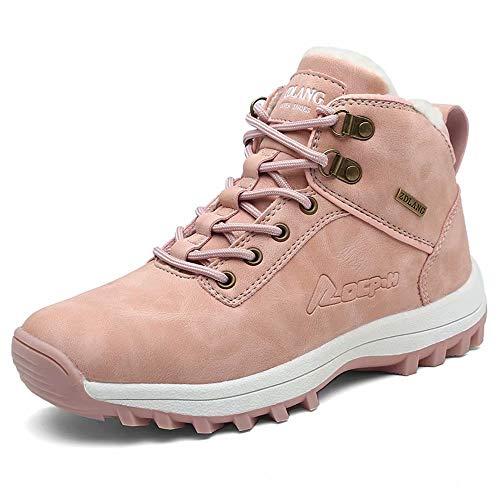 Mabove Męskie buty zimowe z ciepłą podszewką, buty zimowe, śniegowce, do trekkingu, trekkingowe, wodoodporne, antypoślizgowe, skórzane, buty robocze, różowy - różowy 572 - 41 EU