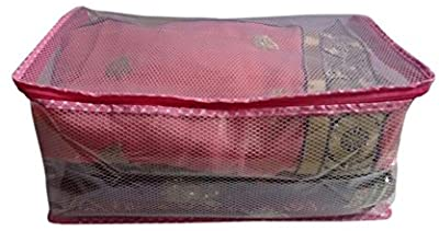 Fashion Bizz Premium Saree Cover in Transparent Net with Capacity of 10-15 Sarees, Wardrobe Organiser, Regular Clothes Bag