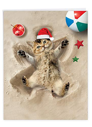 The Best Card Company - Jumbo Animal Card for Christmas (8.5 x 11 Inch) - Adorable Cat and Dog Notecard, Group Card for Kids - Holiday Sand Angels J6844BXSG