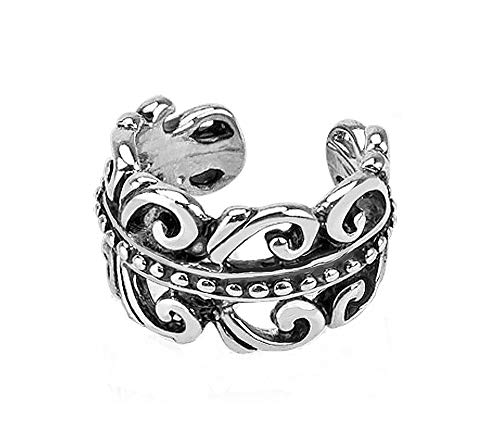 Carved Swirls Rhodium Plated Brass Non Piercing Ear Cuff & FREE ITEMS by PIERCE ME