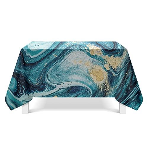 DSman Mantel Encerado Lavable Mantel Antimanchas Mantel a Prueba de Polvo para Interiores y Exteriores Arte Abstracto del río