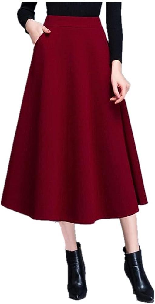 NP Autumn Winter Woolen Skirts Skirt Women Feminine Lady Waist Empire A-Line Skirt