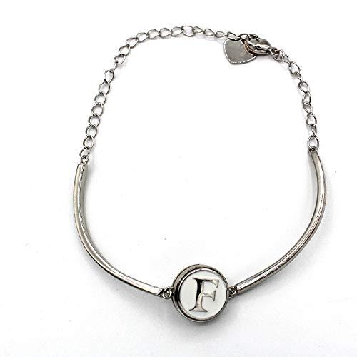 Halfvaste armband met initialen (F) (12 mm) (sieraden).
