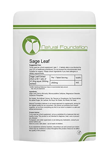 Sage Leaf Tablets 2500mg High Strength Standardised Vegan Tablets | 240 Tablets 8 Months Supply | Natural Foundation Supplements