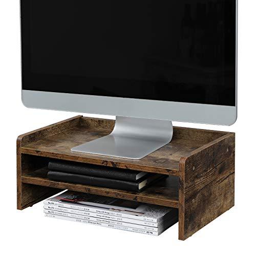 OROPY Monitorständer mit Stauraum, Bildschirmständer, aus Holz als Computertisch für Monitor, Laptop, Notebook, iMac, für Arbeitszimmer oder Büro, L42 x W24 x H16cm