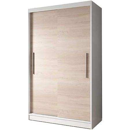 E-MEUBLES Armoire de Chambre avec 2 Portes coulissantes | Penderie (Tringle) avec étagères (LxHxP): 120x200x61 Noah 04 (Blanc+ Sonoma)