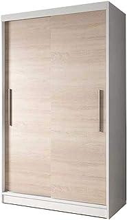 E-MEUBLES Armoire de Chambre avec 2 Portes coulissantes | Penderie (Tringle) avec étagères (LxHxP): 120x200x61 Noah 04 (Bl...