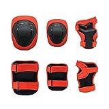 Nologo Equipo de Protección de la Rodilla Pad Coderas los Dispositivos de protección Gear Set for Patinar Patines Ciclismo BMX Bike Patinaje (Color : Red, Size : Small)