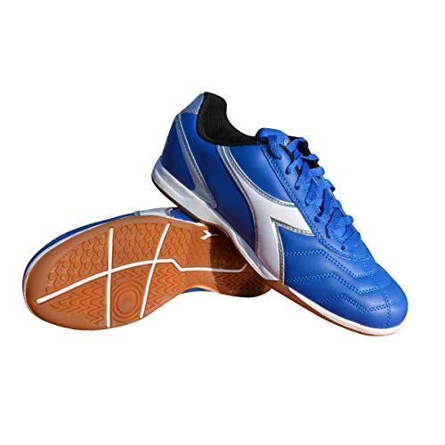 Diadora Men's Capitano ID Indoor Soccer Shoes (12.5, Royal/White/Silver)