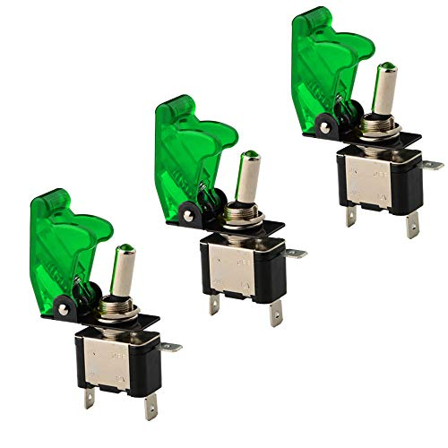 CESFONJER 3 Pcs Luz LED Interruptor de Palanca SPST, Interruptor Basculantes 12V 20A con Luz de LED y Tapa de Color Verde para Instalar Vehiculo, Barco ect.